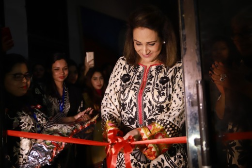 Well known and versatile actor of the media industry, Bushra Ansari, cuts the ribbon for the inaugural ceremony at DICE CAM 2018
