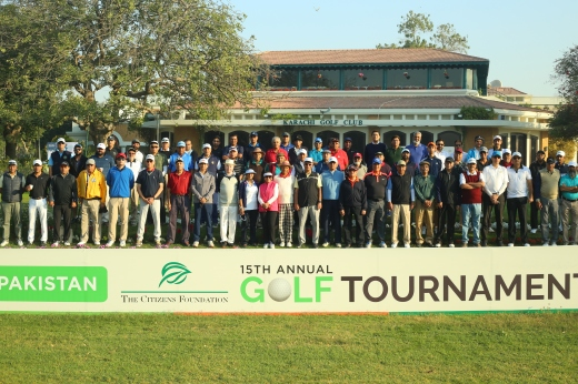 28 team of golfers at 15th TCF Golf tournament before tee off