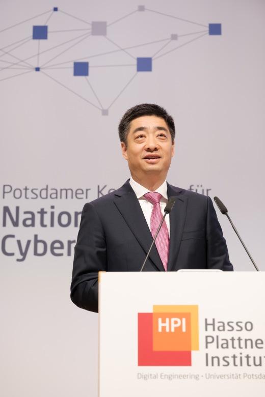 Houkun Hu, Rotating Chairman von Huawei bei der Nationalen CyberSicherheitskonferenz im Hasso Plattner Institut in Potsdam © Peter Adamik/Berlin