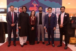 Huma Nasr with her partners at the red carpet event of 5th Promising Shaan-e-Pakistan press conference